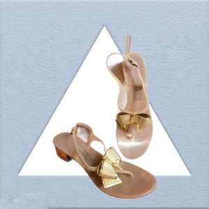 Salvatore Ferragamo Bali Jelly Bow Nude Sandals